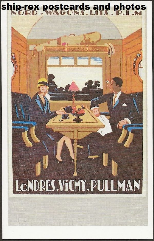 French Railway Poster (Londres Vichy Pullman) - modern postcard